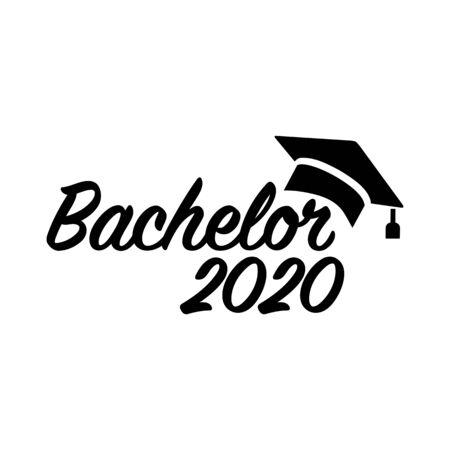 Bachelor 2020 with motarboard hat 矢量图像