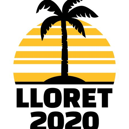 Lloret 2020 with palm tree and sunset 矢量图像