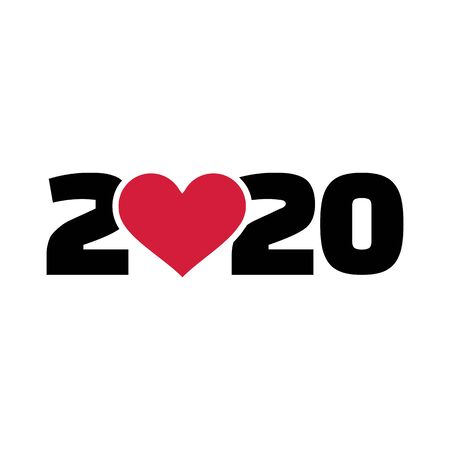 2020 year with red heart 矢量图像