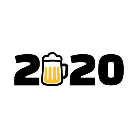 2020 year with beer mug