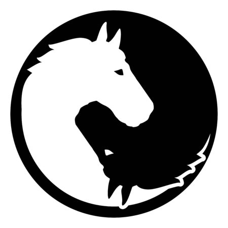 Horse chinese yin and yang sign