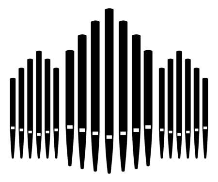Dreifache Pfeifenorgel Musikinstrument Organist Symbol