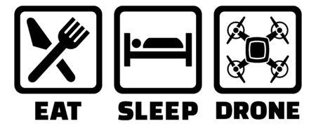 Eat sleep drone icon black