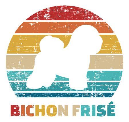 Bichon Frise silhouette vintage and retro