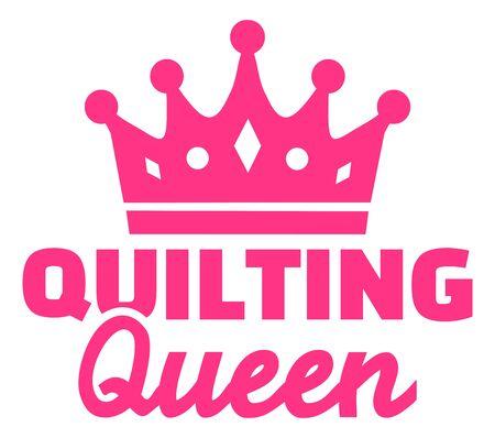 Quilten Königin rosa Krone Symbol Vektorgrafik