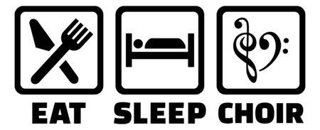 eat sleep choir icons black
