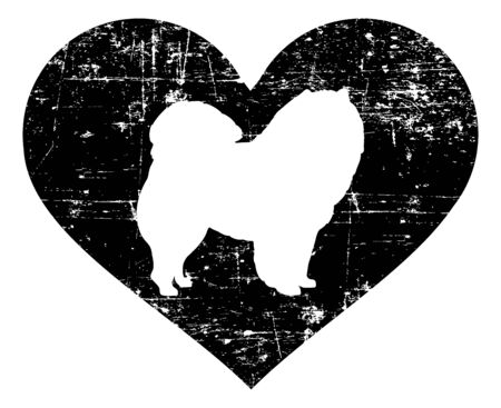 Chow Chow silhouette in black heart