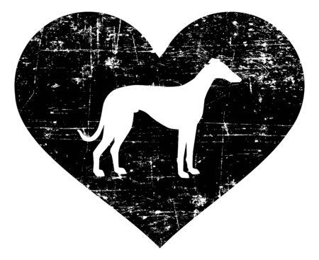 Italiaanse windhond silhouet in zwart hart Vector Illustratie