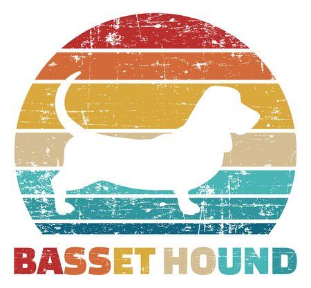 Basset Hound silhouette vintage and retro Vettoriali