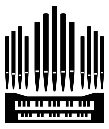 Pfeifenorgel Musikinstrument Symbol Tastatur