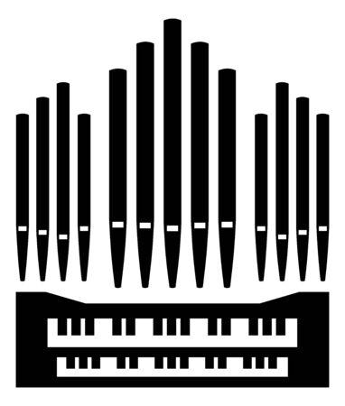 Teclado de icono de instrumento de música de órgano de tubos