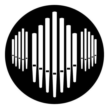 Botón de música de instrumento de órgano de tubos Ilustración de vector