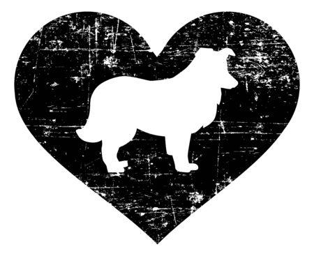 Shetland Sheepdog silhouette in black heart 写真素材 - 139821957