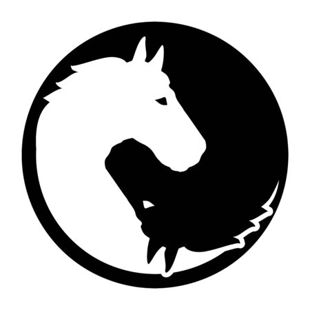 Horse yin and yang chinese sign Stock Illustratie