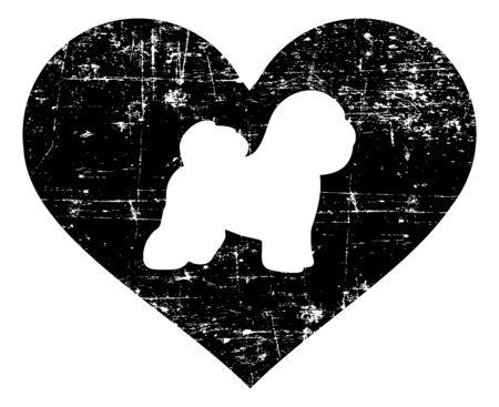 Bichon Frise silhouette in black heart Illustration