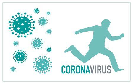 Panic coronavirus covid-19. Man runs away