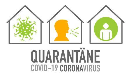 Quarantäne German for quarantine covid-19 coronavirus to avoid spread with vector icons 向量圖像