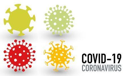 Set of four virus vector icons covid-19 coronavirus