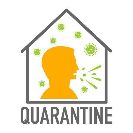 Quarantine icon. Coronavirus covid-19 avoid risk of infection