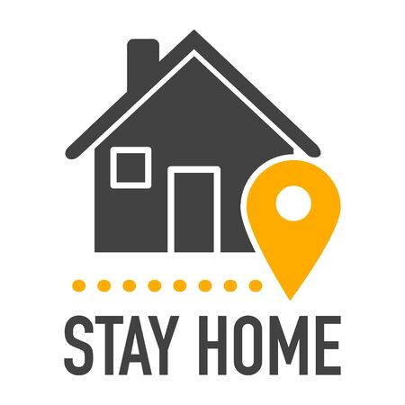 Stay home icon during coronavirus covid-19. Home office, quarantine. 向量圖像