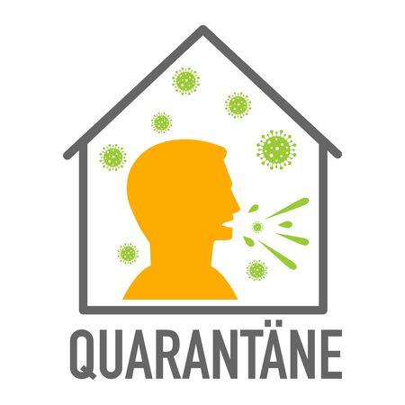 Quarantäne German for Quarantine. Coronavirus covid-19 avoid risk of infection 向量圖像