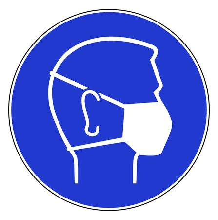 Blue sign to wear a face pollution mask, medical mask, hygiene corona virus