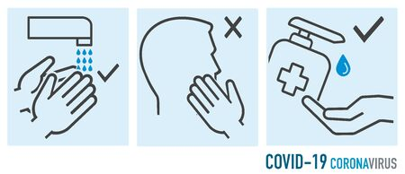 Protection icons during Coronavirus covid-19 safety hygiene