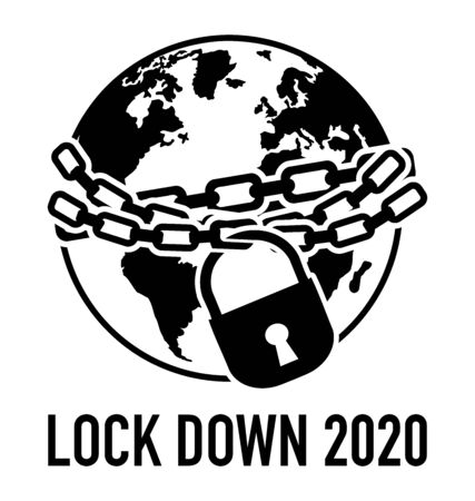 Icon of locked world, global lock down 2020 because of coronavirus covid-19