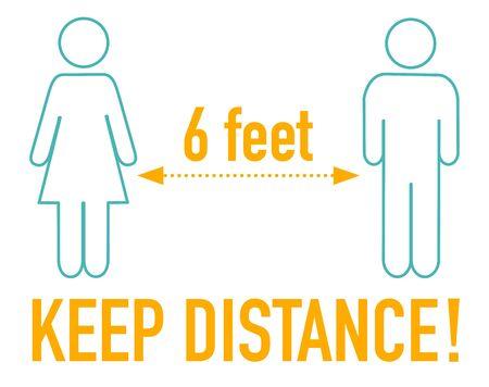 Keep distance during coronavirus covid-19 6 feet 向量圖像