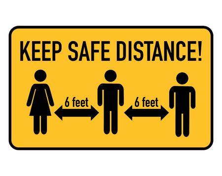 Keep safe distance, 6 feet. Coronavirus covid-19 spreading prevention. 向量圖像