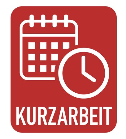 Kurzarbeit. German for short-time work icon with calendar and clock.