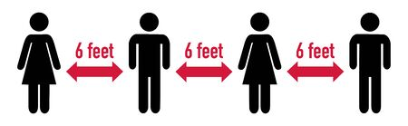 Distance sign protection 6 feet distance pictogram
