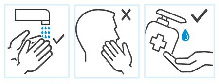 Hygiene icons washing hands stop corona protection measures 向量圖像