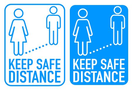 Signs with keep safe distance, social distancing isolated coronavirus covid-19