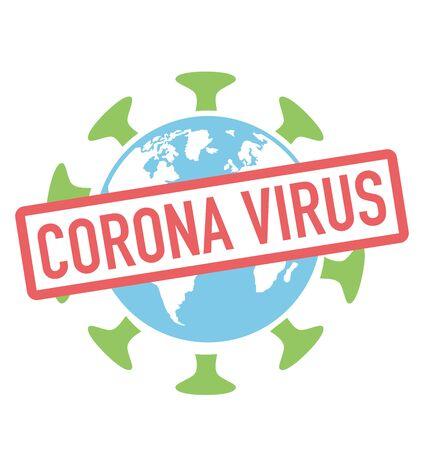 Coronavirus pandemic on earth, world globe as a big virus 矢量图像