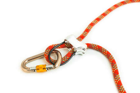 Rock climbing belay device with red rope
