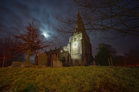 Creepy cemetery at night