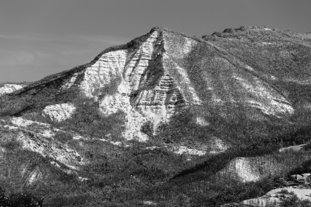 apennines: Triangular mountain in black and white