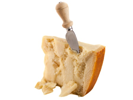 Parmesan cheese and knife Stock Photo