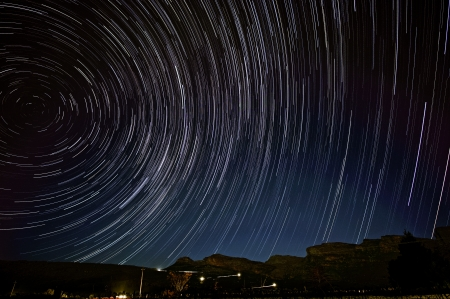 Star trails over Pakhuis pass, South Africa Stock Photo