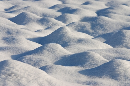 Dunes of snow in a country field