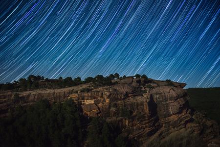 star trail over Sierra de Albarracin, Aragon, Spain