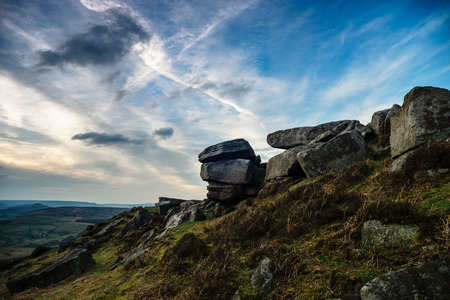 sheffield: Gritstone rocks at Stanage edge
