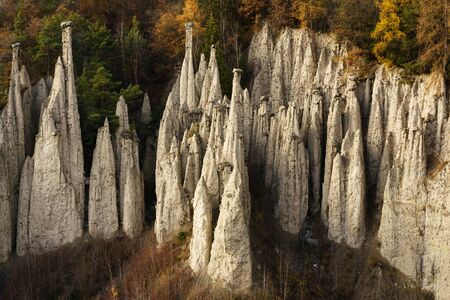 Close up of earth pyramids of Ritten \ Renon, Bolzano, Italy