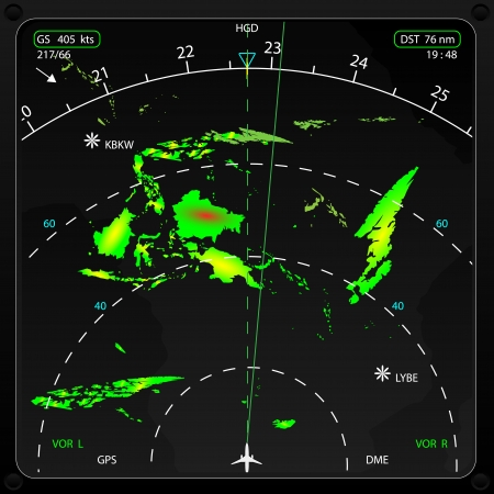 displaying: Commercial airplane s on board radar, displaying weather information, vector