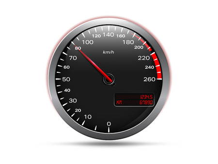 odometer: Analogue car speedometer, isolated on white