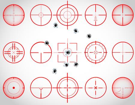 pistola: Conjunto de quince pelos cruz roja, con agujeros de bala, vector