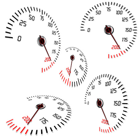 instrument panel: Abstract speedometers, normal and perspective views, vector, isolated in white