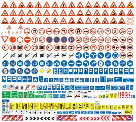 Colección de las señales de tráfico señales europeas de peligro Señales de Obligación Señales de obligaciones Signos de alerta cuadros complementarios Tablas de enrutamiento de tráfico temporal firman 308 señales, vector