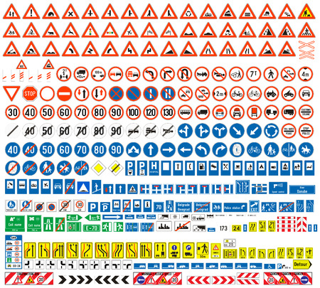 one lane road sign: European traffic signs collection  Signs of danger  Mandatory signs Signs of obligations  Signs of alerts  Supplementary tables  Tables of routing  Temporary traffic signs  308 signs, vector